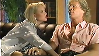 Hot and wicked blondie pulls out cock and sucks it on the couch