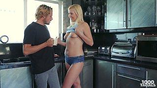 Just US girlfriend Summer Day stands on knees to work on stiff prick