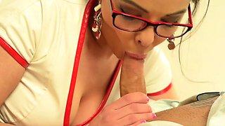 Brunette nurse ball sucking and cum in mouth