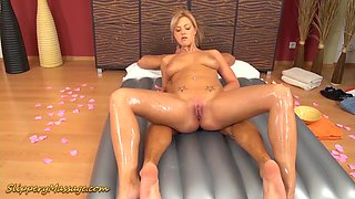 extreme hot slippery nuru massge sex lesson with hot blonde babe Nathalie Cherie