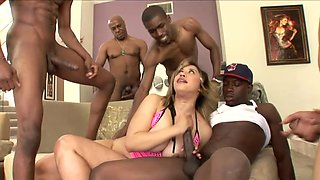 Cute bubble butt girl getting gang banged by a lot of black guys