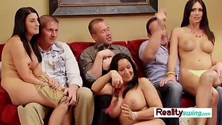 Joe and cherie swap couples during meet and greet in the living room