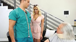 busty blonde bangs a male nurse in front of her sugardaddy