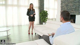 Redhead enchantress Lullu Gun fucks a handsome man in the living room