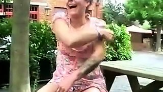 British dirty mature slut flashing outdoor