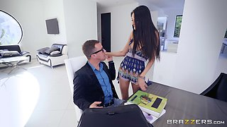 NAughty teen Eliza Ibarra seduces a client and rides him at the office