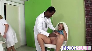 interracial threesome fucking with preggo slut and her female doctor