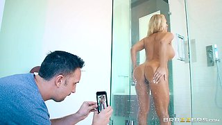 a lathered milf in the shower