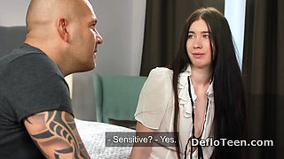 Long haired teen Anna Klavkina is ready for the defloration