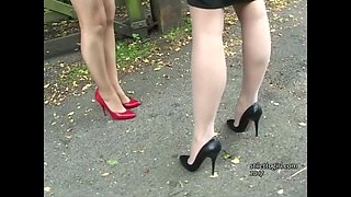 Stiletto Girl babes Jenna and Iona tease and stimulate your leggy high heel fetish