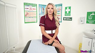 Sexy nurse in uniform and stockings Ashley Jayne gets naked