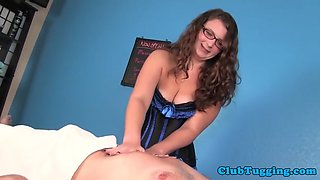 curvy spex mistress massaging cock