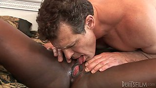 Provocative ebony bitch is sucking dick in 69 position