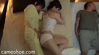 Asian milf sweating in bed