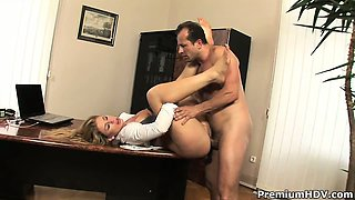Extremely hot secretary Brooklyn Lee teases on her boss