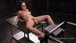 serious machine fuck for brunette babe