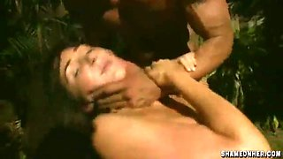 Drunk woman in the park gets forced gangbanged