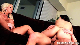 Alura Jenson and Tya Quinn seduce a hunk for a threesome