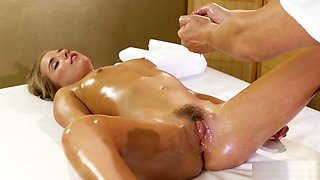 Oiled Petite Blonde Gets Masseurs Cock In The Ass