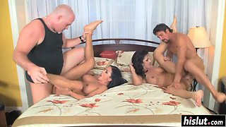 Naughty girls get banged with big dicks