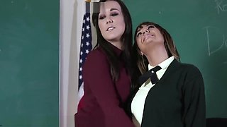 Naughty Lesbian Schoolgirl Punished by Mistress Strapon