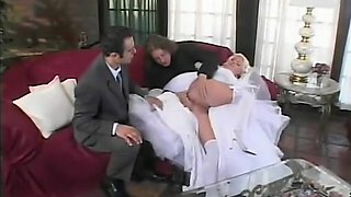 New bride gets a special wedding treat, hubby gives her a threesome and DP