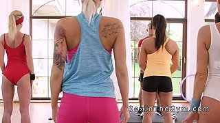 Hot interracial lesbian sex at the gym