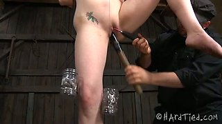 Dissolute slave girl bounded outdoors and punished by her master