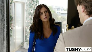 Long legged brunette agent with sweet titties is analfucked doggy rough