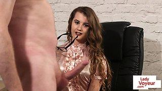 Spex british babe instructing tugging fella