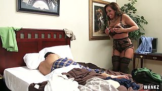 Mega busty whore milf Richelle Ryan seduces her stepson early in the morning
