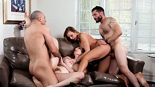 Zealous Britney Amber swaps her BF to ride another strong cock on top