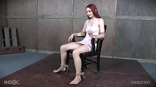 Violet Monroe tied up on the chair and abused by mistress London River