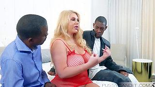 Karen Fisher gets two big black cocks inside her