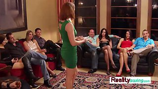 Hot wives play with each other as they meet and greet at the swing house