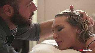 Well packed sexpot in black stuff Cali Carter gives head and gets pounded