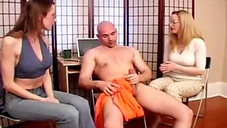 His job interview includes a CFNM handjob from two babes