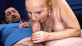 Mature blonde granny Marianne forced to deepthroat and ride cock