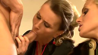 Two Girls Get Fucked in Shiny Glossy Tan & Black Pantyhose