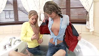 2 russian bitches seduce a mobster inside his jacuzzi