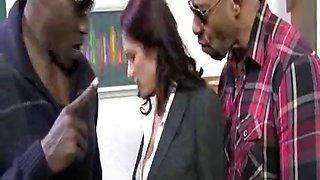 Sexy Cougar Sucks Two Blacks