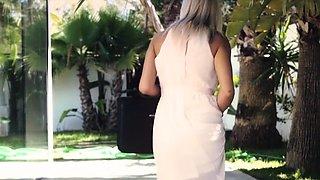 Housewife MILF blonde fucks with the gardener outdoor