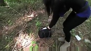 Innocent young woman fucked in the bushes