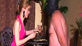 European mistress makes sure slave is hydrated.. with her piss