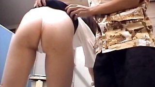 Japanese sweety gets twat rubbed upskirt