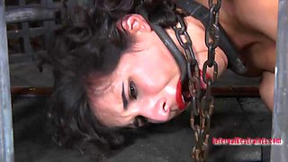 Nice ass Marina in bondage cage drilled using toy in BDSM porn