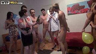 Awesome Orgy With Horny Babes And A Lot Of Alcohol