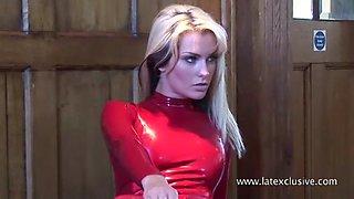 Natasha: red latex catsuit