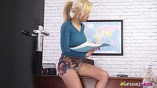 Naughty secretary in short skirt Fi Fi shows her panties