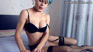 This emo chick desires to tease and touch her self with fingers and toys on webcam